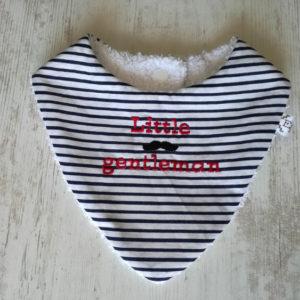 Bavoir bandana bébé brodé tissu rayé